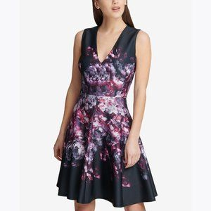 New DKNY Placed Floral Scuba Fit & Flare Dress 4